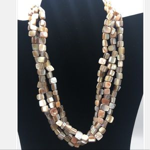 Iridescent shell bead, 3-strand necklace